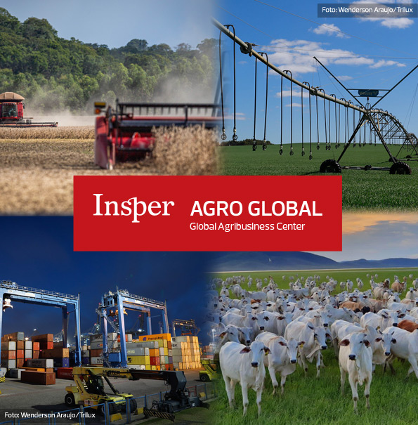 Image divided into four squares with a central banner. Insper Agro Global, Agro Business Center is written on the central banner. In the upper left corner, image of machines harvesting soybeans. In the upper right, irrigation image. In the lower left, image of boxes stacked in a port. In the lower left, oxen grazing.